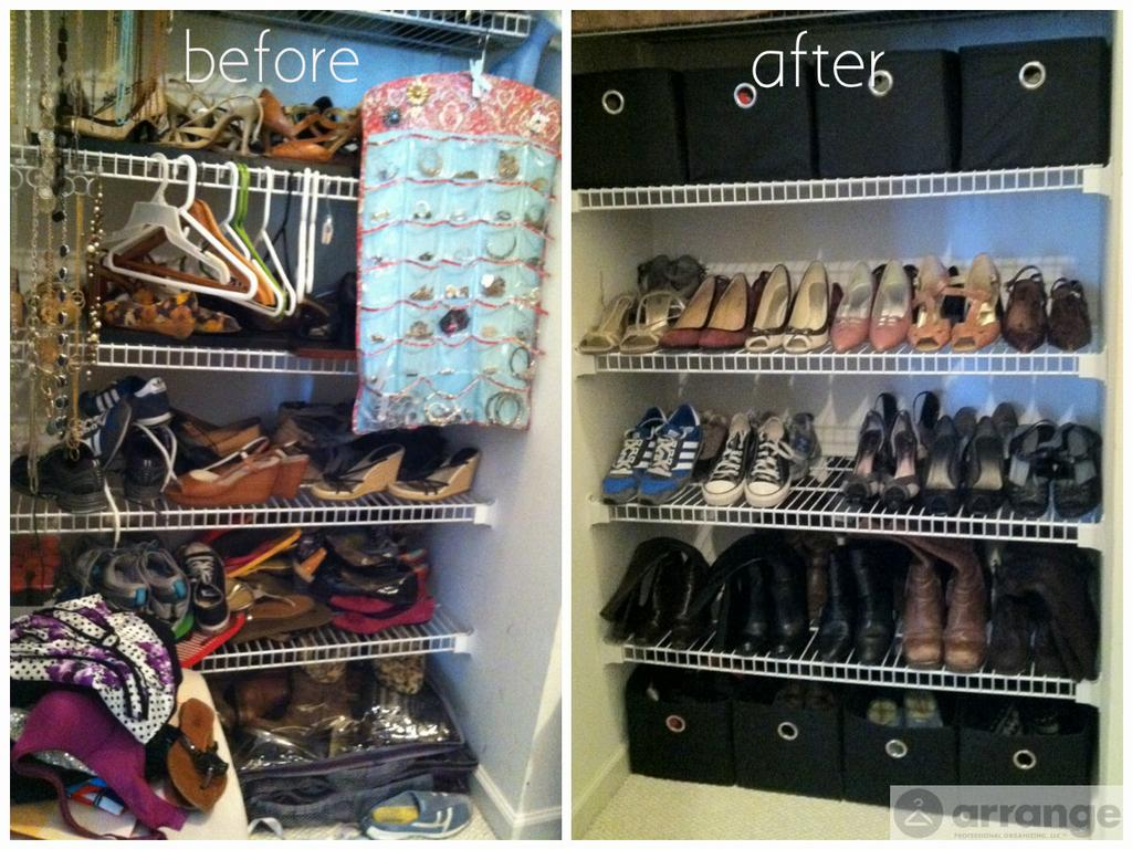 How to organize shoes in closet before after
